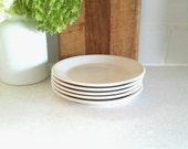 Vintage White Luncheon Plates . Set of Five . Diner China . Syracuse Syralite China