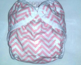 Pink Chevron print  PUL Diaper Cover