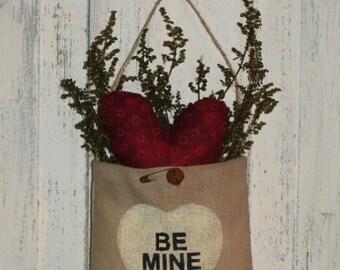 Be Mine Valentine Peg Hanger Pouch-Handmade-Valentine's Day Decor-Decoration-Love