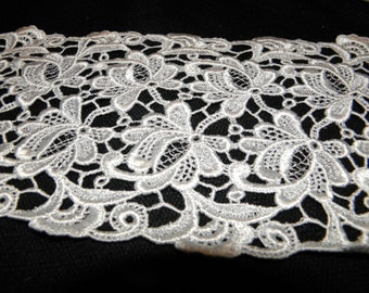"Thick white lace trim 6"" Wide 1 3/4 yards"