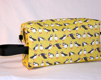 Little Puffins on Maize Project Bag - Premium Fabric