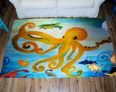 Octopus tropical Large Plush Area Rug from my art