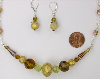 Amber Glass Necklace and Earrings Set