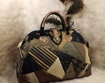 Steampunk Trunk Mary Poppins Style Carpet Bag / Travel Bag Patchwork Black Gold Bronze