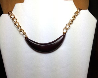 Gold Chain and Bone Necklace / Chain Necklace / Brown necklace