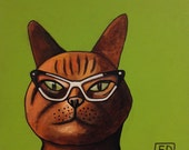 201 Cat - folded art card 15x15cm/6x6inch with envelope