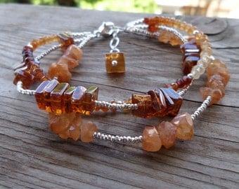 One of a Kind Triple Strand Orange (Hessonite) Garnet with Fine Silver Gemstone Birthstone Bracelet