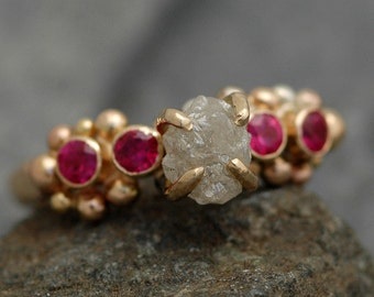Raw Diamond, Ruby, and Mixed Gold Ring- Ready to Ship