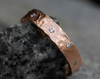 Wedding Band - Recycled 14k Rose Gold and Flush Set VS Diamonds