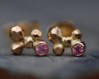 Pink Sapphires in Orb Cluster Rose and Yellow Gold Post Earrings- Ready to Ship