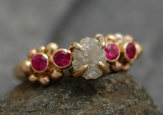 ON SALE- Raw Diamond, Ruby, and Mixed Gold Ring- Ready to Ship