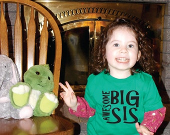 Big Sister gift ideas, Awesome big sister shirt, New Baby gift idea, baby shower gifts, baby annoucement, gifts for sisters, custom tshirts