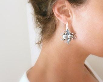 Big silver bee earrings Large silver earrings Bumble bee dangle earrings Big bug earrings Bee lover gift Honey bee earrings Beekeeper gift