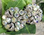 Vintage AURORA BOREALIS Rhinestone Earrings Silver Tone Chaton AB Rhinestones Cl
