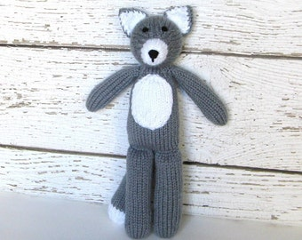 """Knit Toy, Hand Knit Gray Wolf, Ready To Ship, Handmade Toy Stuffed Animal Woodland Animal Child Toy Baby Shower Gift Toddler Gift 12 1/2"""""""