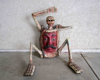 Vintage Mexican Folk Art Skeleton with Face in Chest. Circa 1960's.