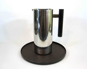 Vintage Smith Metal Arts Insulated Water Carafe and Tray in Modernist Design. Circa 1960's.
