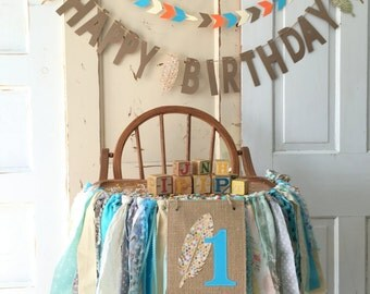 First Birthday Boys High Chair Banner. Boys High Chair Banner with Burlap Flag. Blue and Gray Garland or CUSTOM colors.