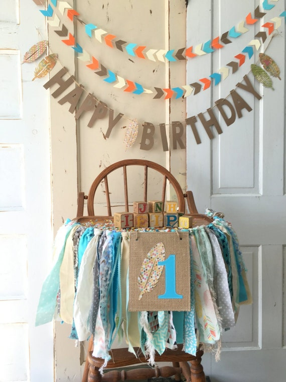 First Birthday Boys High Chair Banner. Boys High Chair Banner with ...