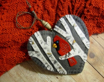 Cardinal in Birch Ornament - Ready to Ship Embroidered Fiber Art