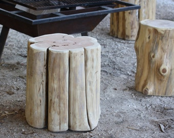"Rustic Furniture, Wood Stump Table, Timber side table, natural wood end table, 3 sizes, 18"" tall unfinished, paint + stain available, sanded"