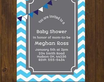 Chevron Baby Shower Invitation, Baby Boy Invitation,  Chevron, Blue Chevron, Blue and Gray, Baby Shower - Printable Invitation