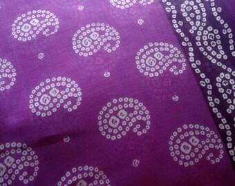 Purple White Paisley Print Fabric, Tie Dye Indian Cotton Saree Fabric By The Yard, Lightweight Cotton, Indian Sari Fabric, Bandhej Fabric