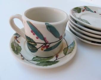 Flat Cup & Saucer Set in Mistletoe Woodland by Hartstone, 8 Ounce Vintage Hartstone Pottery Small Mug Saucer