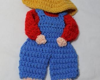 NEW Hand Crocheted Sunbonnet Sam Wall Hanging, Trivet, Potholder, Blue & Red