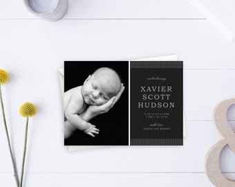Newborn Stationery, Birth Announcement, Boy Announcement, Black and White, Elegant Announcement, White Stripes, Newborn Boy, Baby Newborn