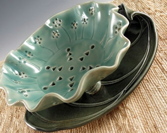 Pottery Berry Bowl with Saucer - Seafoam Green Berry Strainer - Ceramic Colander - Dark Green Leaf Saucer - by Botanic2Ceramic - 575