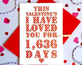 Valentine's Days I've Loved You Card – Personalised Valentine's Card  – Valentine's card for husband wife boyfriend girlfriend