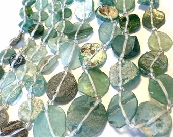 Ancient roman glass beads whole strand disks