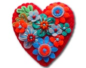 FB073  - Japanese Art Inspired Heart Shape Felt Brooch - Red