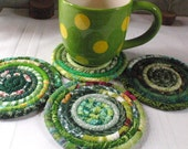 Coiled Fabric Coasters - Green Bohemian - Set of 4, Handmade by Me