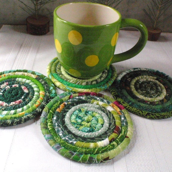 Coiled Fabric Coasters Green Bohemian Set of 4 Handmade