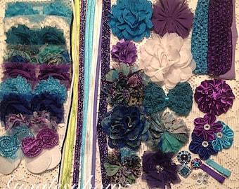 DIY Headband Kit- Peacock Floral Headband Kit- Make 20 headbands, Do it Yourself- Purple/ Turquoise Headbands- Baby Shower Kit- DIY Kit