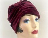 Velvet Turban  - Burgundy Velour Turban - Maroon Velvet Hat - Soft Fabric Hat - Stylish Chemotherapy Hat - 1920's Hat - Hat Handmade in USA