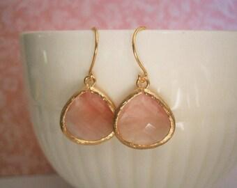 Pink Coral Earrings, Grapefruit Earrings, Gold Earrings, Best Friend, Mom Gift, Bridesmaid Earrings, Wife Gift