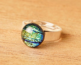 Handmade Dichroic Fused Glass Copper Adjustable Ring