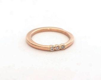Three Diamond Ring in 14K Rose Gold