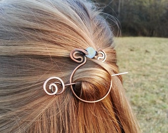 Celtic hair slide Circle hair barrette Metal hair holder Rustic copper accessories Shawl pin Scarf brooch Women gift Women accessories