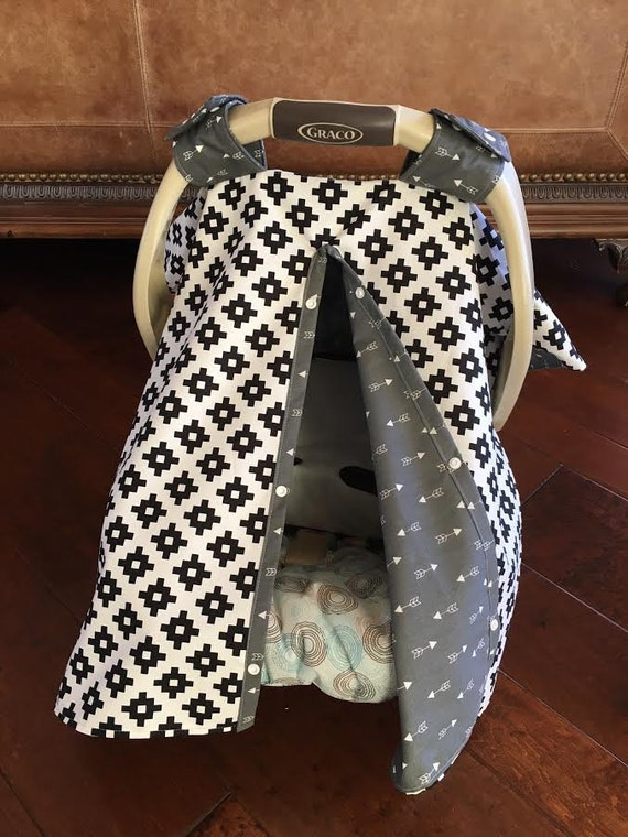 gender neutral baby car seat canopy cover black white. Black Bedroom Furniture Sets. Home Design Ideas