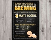 Digital Yellow Baby Brewing Man Shower Party Invitation You Print Printable
