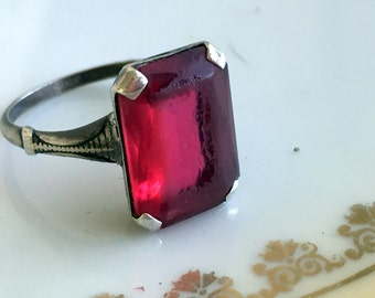 Antique Art Deco Sterling Silver  Ring Pink/red stone sz 6 3/4