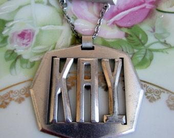 """Vintage Brush Metal Name Brooch """"KAY"""" Dangle Art Deco Style Brooch"""