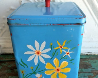 Antique Tin Rusty Turquoise Blue Hand Painted Flowers Square Canister Storage