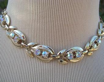 "Vintage 1960s Goldtone Link Necklace with Faceted Aurora Borealis Gems 15"""