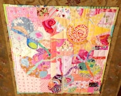 "Baby Quilt Butterfly Morning Baby Girl Quilt or Wall Hanging 42"" x 43"" Patchwork Quilt Designer Cottons betrueoriginals"