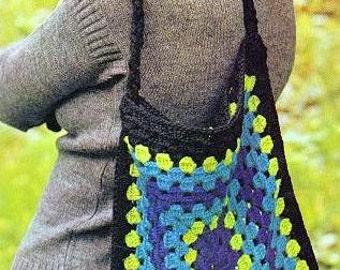 Vintage Crochet Pattern  Giant Granny Square Shoulder Bag  1970s Retro INSTANT DOWNLOAD PDF